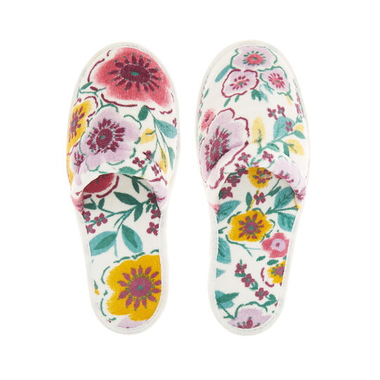 Cotton terry slippers with flowers pattern