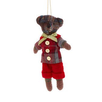 Teddy bear decoration in tartan fabric