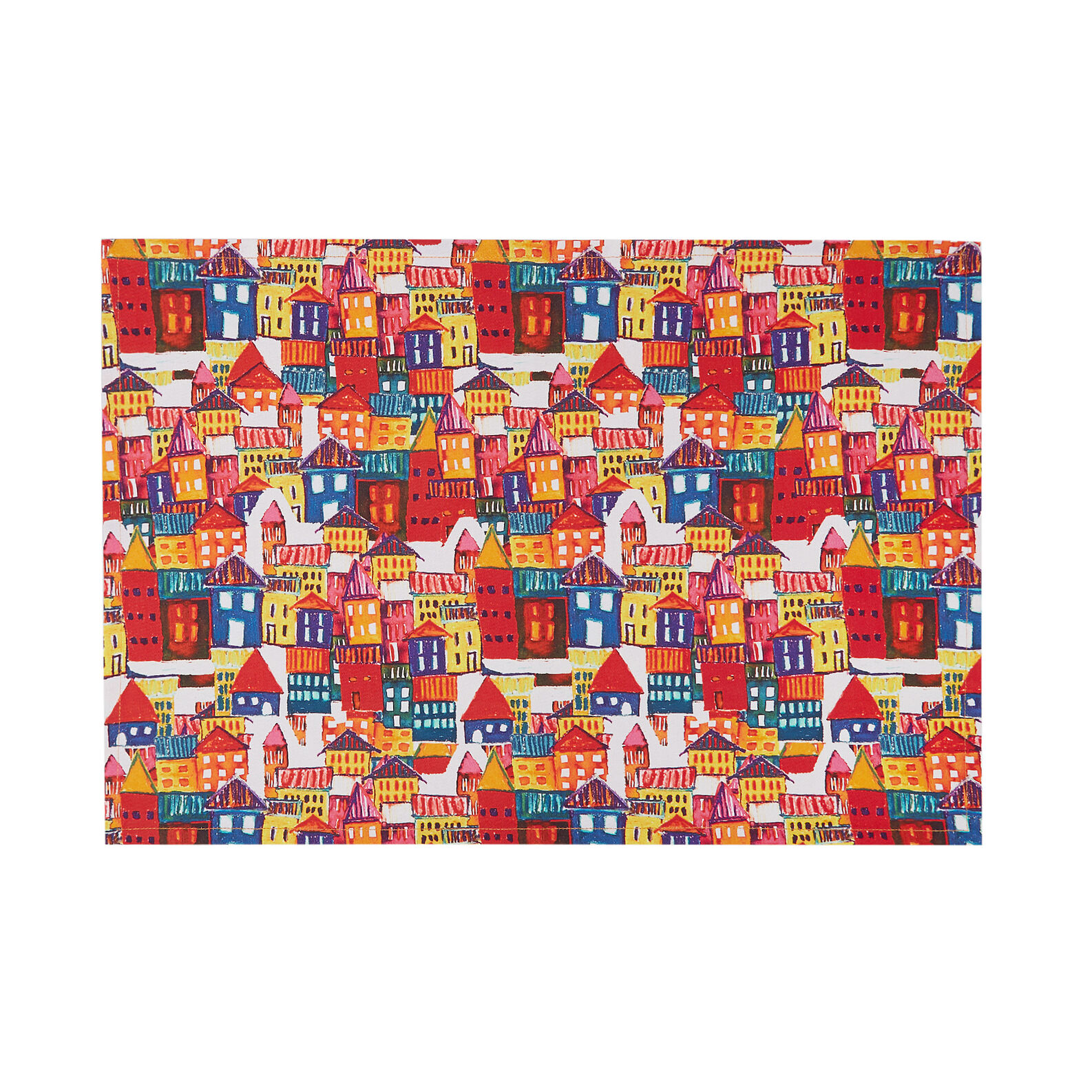 Table mat in cotton twill with house print
