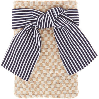 Jute and cotton striped cutlery tray with bow