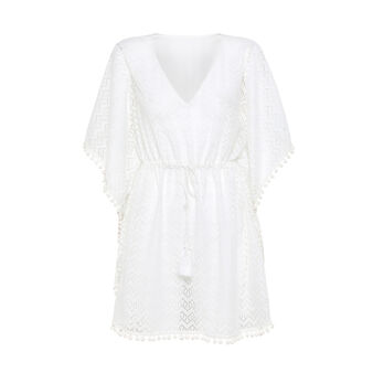 Solid colour poncho in lace and viscose