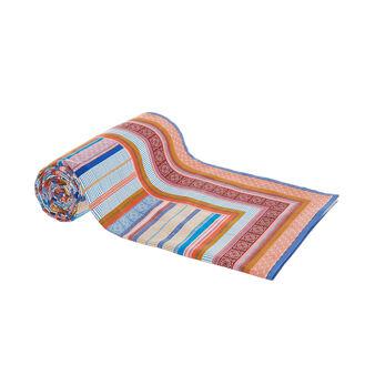 Multicoloured striped throw in 100% cotton