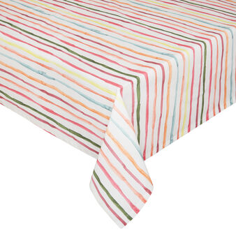 Cotton twill tablecloth with watercolour-effect striped print