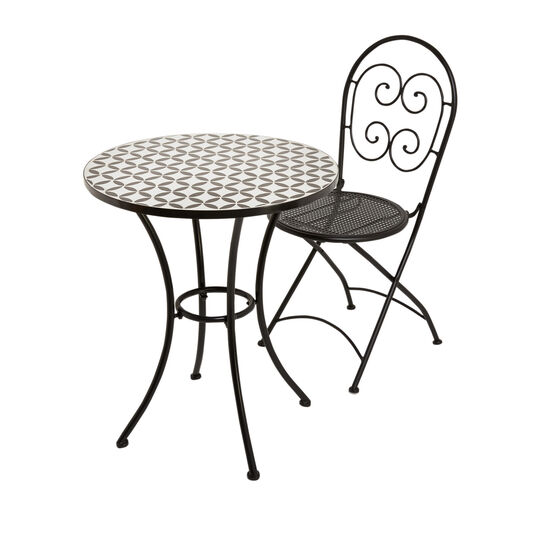 Tavolino in mosaico e acciaio Fes