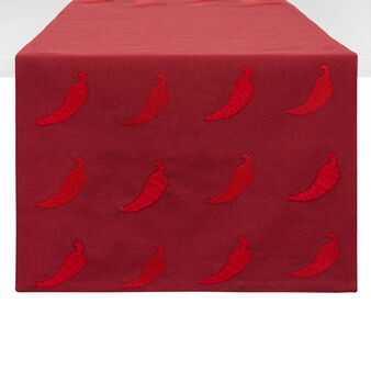 100% cotton table runner with chilli pepper embroidery