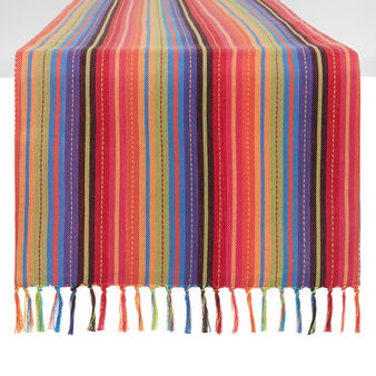 Yarn-dyed table runner in 100% cotton with stripes