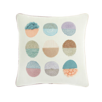 Cotton cushion with embroidery and beads (45x45cm)