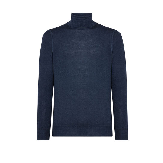 Merino wool pullover with high neck