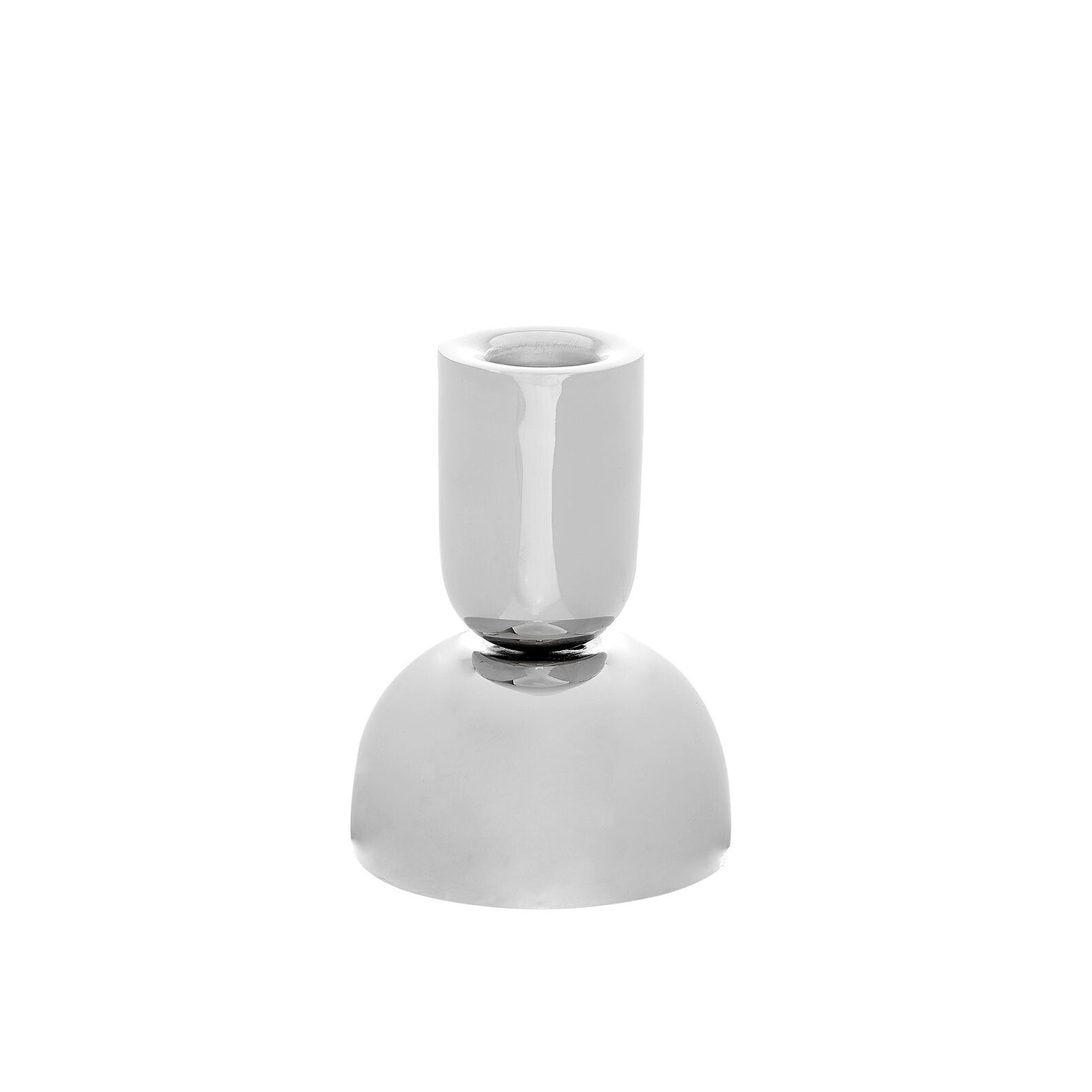 Candle holder in polished metal