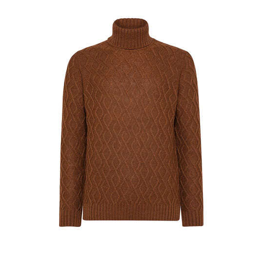 Cable knit pullover with high neck