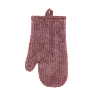 Oven mitt in 100% cotton with zig-zag pattern
