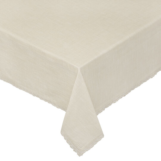 100% iridescent cotton tablecloth with lace trim