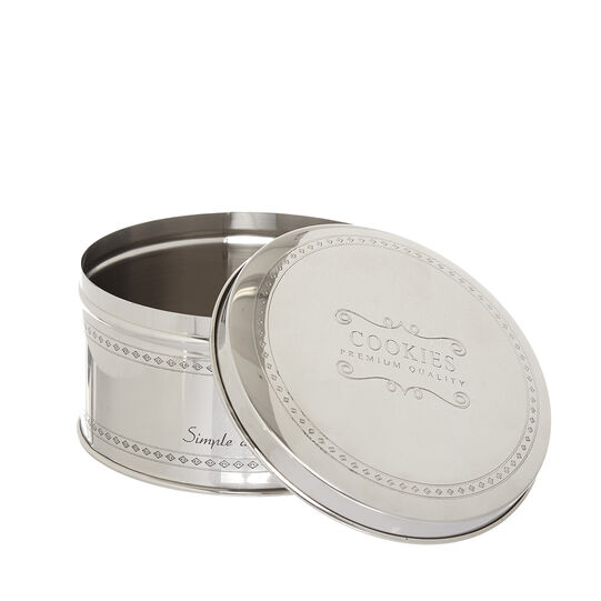 Steel biscuit tin with lettering