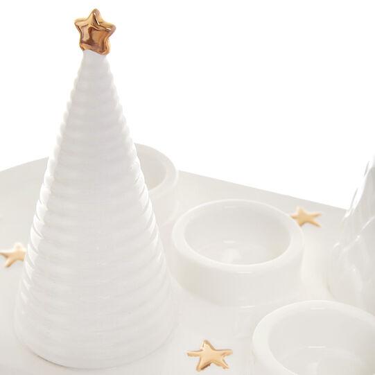 Ceramic tea light holder tray
