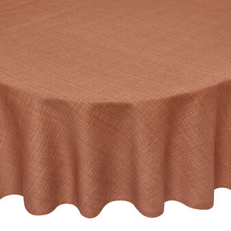 Round solid colour tablecloth in 100% slub cotton