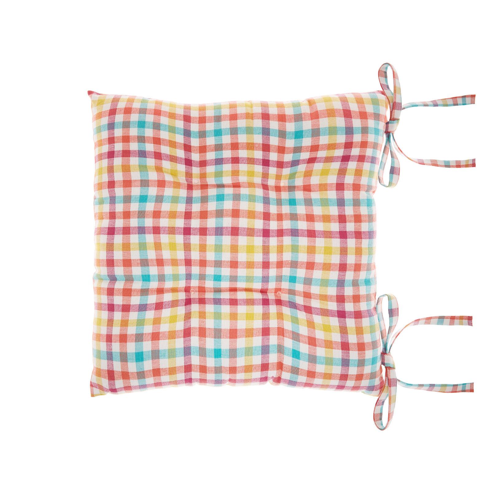 100% cotton check seat pad