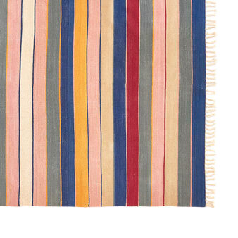 Dhurrie runner rug in pure cotton with multicolored stripes