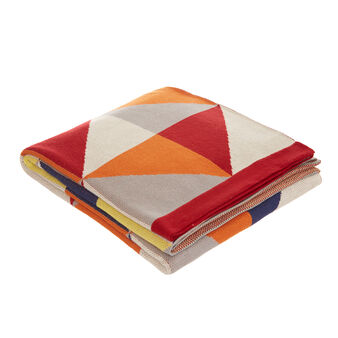 100%  jacquard cotton throw with geometric motif