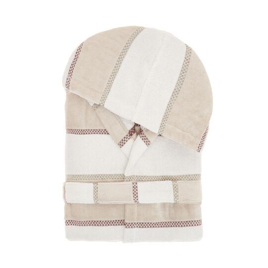 Striped cotton velour bathrobe