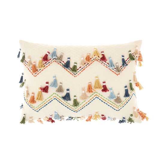 Cushion with coloured tassels