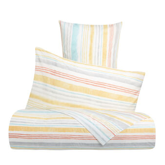 Cotton percale duvet cover set with striped pattern