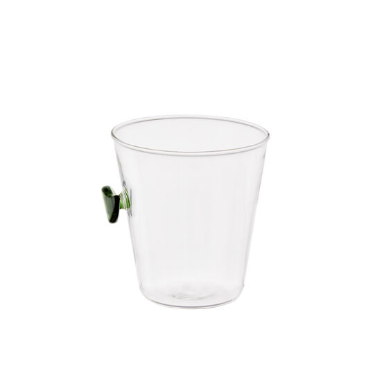 Glass tumbler with leaf detail