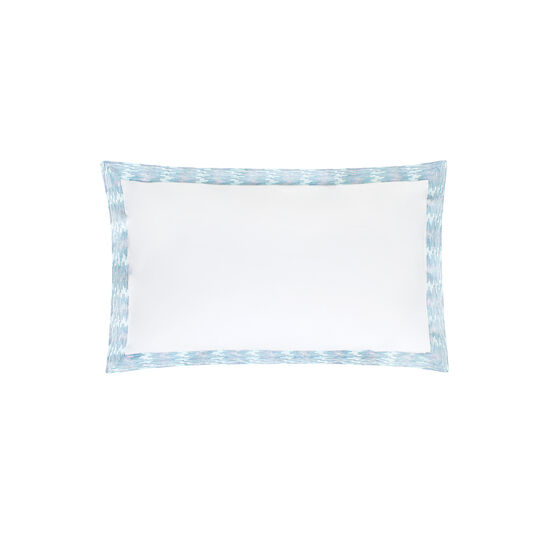 Rectangular cushion with embroidered flounces