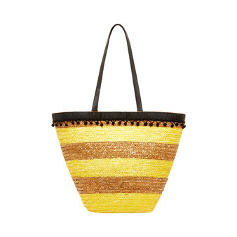 Raffia striped beach bag