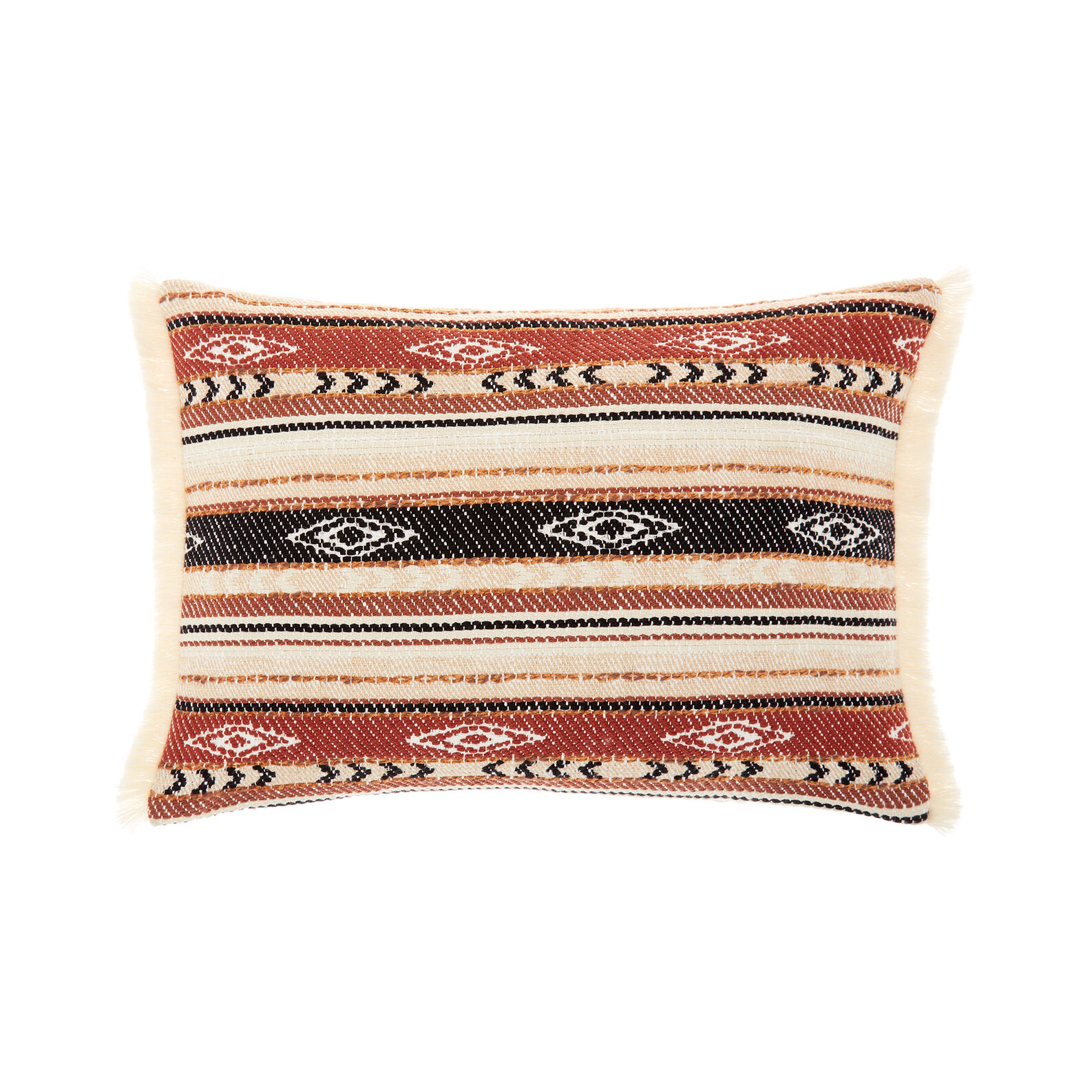 Jacquard kilim cushion with fringes