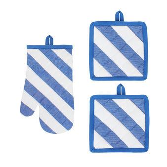 Set guanto e presine puro cotone righe diagonali