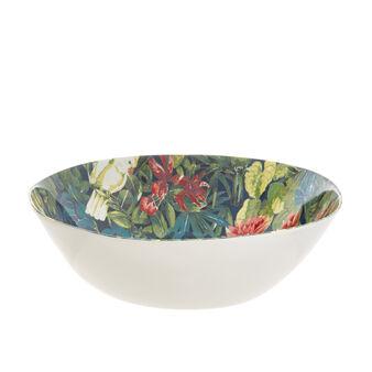 Melamine salad bowl with tropical motif