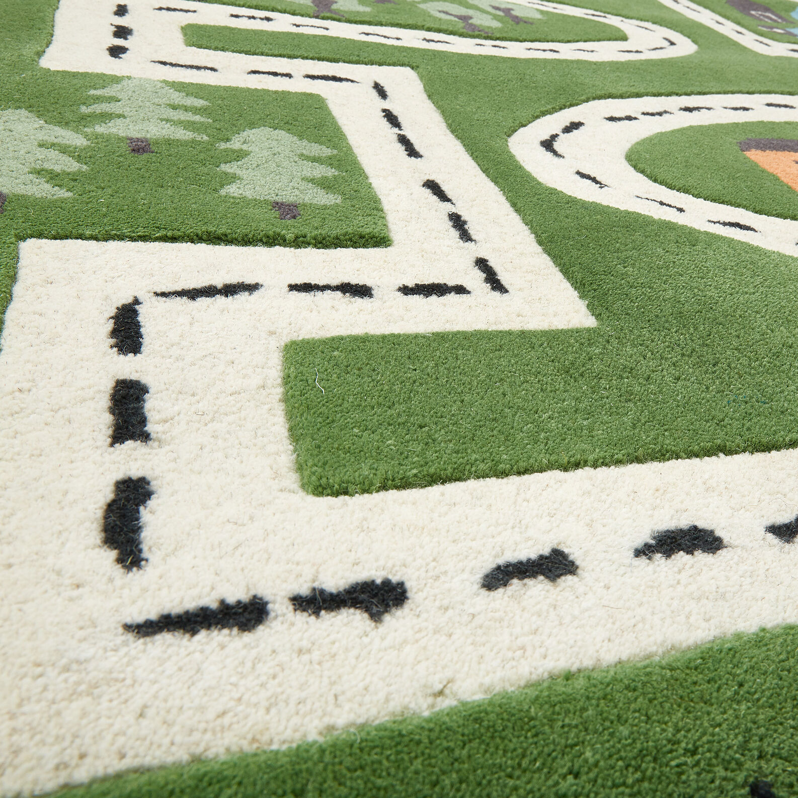 Wool rug for toy cars