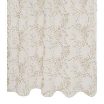Gauze curtain with floral print and hidden loops