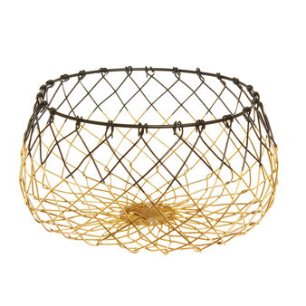 Round basket in two-tone steel
