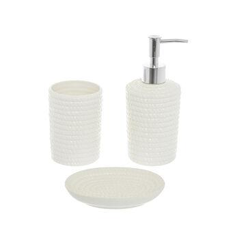 Ceramic bath set with cord motif