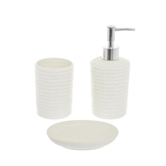 Ceramic bath set with cord motif
