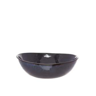 Space soup bowl in stooneware with reactive glazes