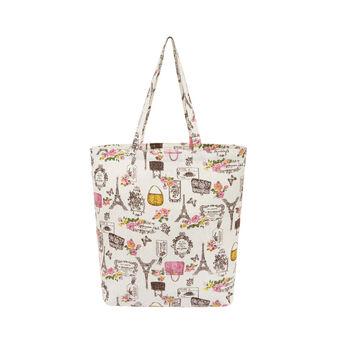 Shopper bag tessuto motivo Paris