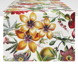 Cotton twill table runner with floral print