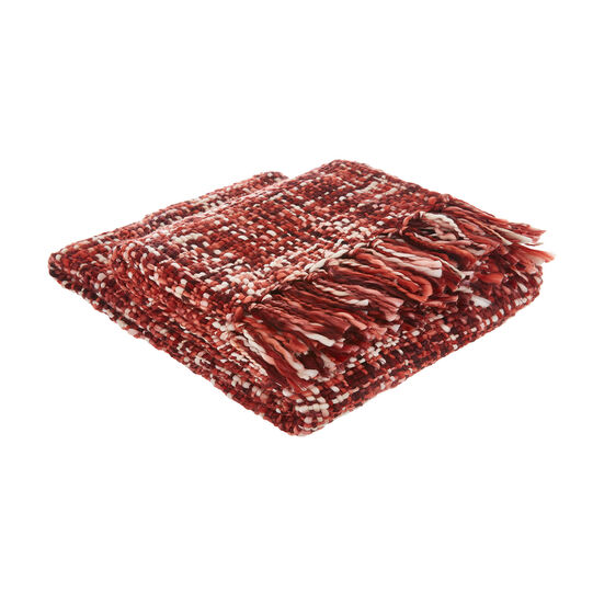 Cable knit throw with fringe