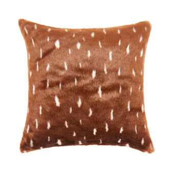 Fawn fur-effect cushion