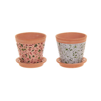 Terracotta cachepot with terrazzo effect