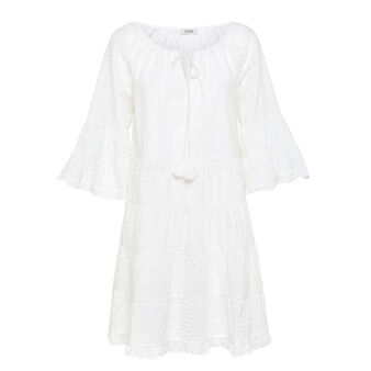 Solid colour dress in cotton broderie anglaise