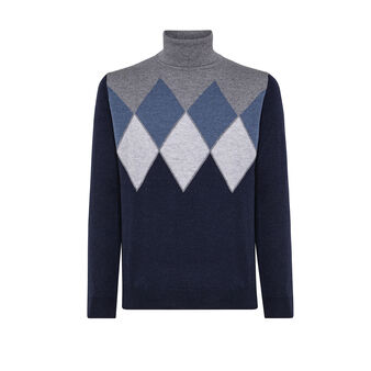 Diamond motif pullover with high neck