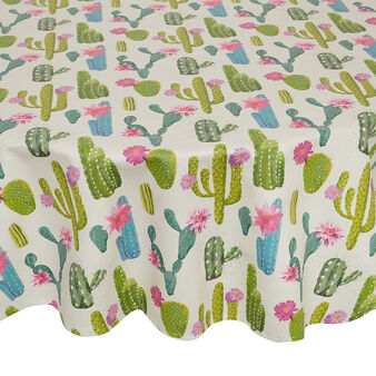 Round water-repellent cotton twill tablecloth with cactus motif