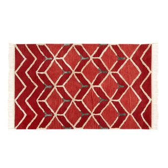 Tappeto taftato in viscosa e cotone motivi geometrici
