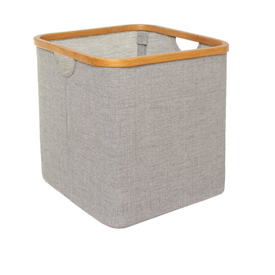 Cotton blend basket with bamboo edging