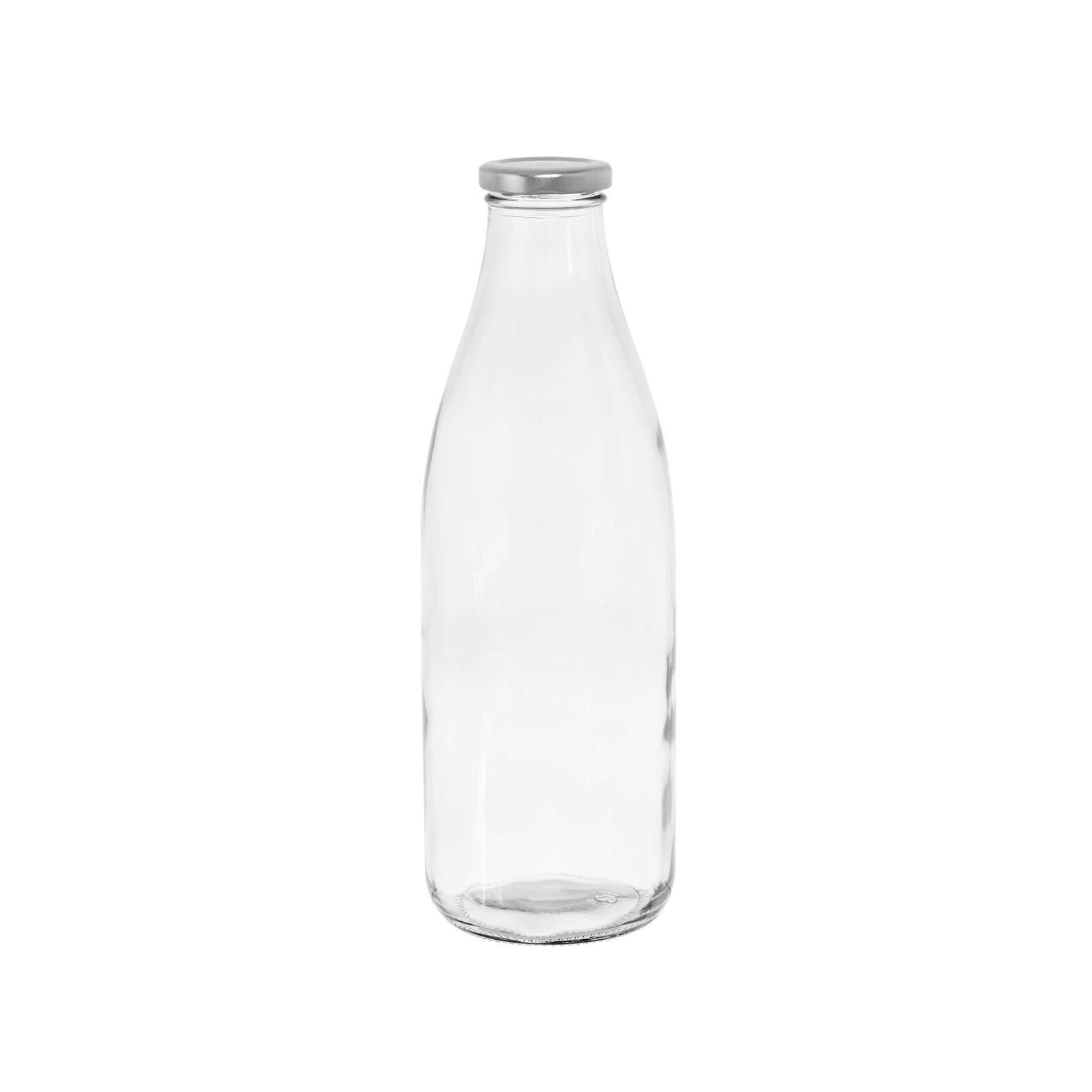 Clear glass milk bottle