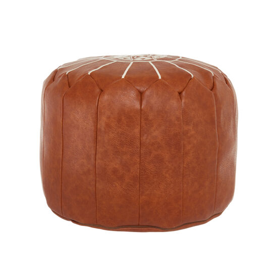 Faux leather embroidered pouf