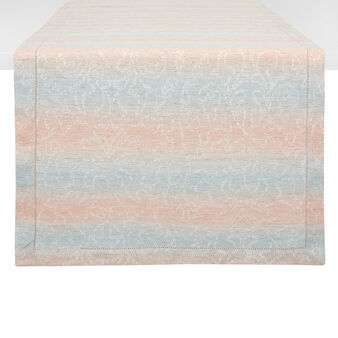 Stonewashed cotton runner with striped motif.